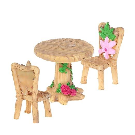 Yanhonin - Micro paisaje bonsái DIY decoración, mesa y sillas en ...