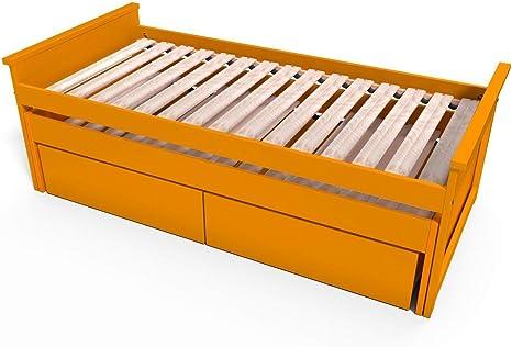 ABC MEUBLES - Cama Nido 90x200 cm + cajones Madera - TIRTOP - Naranja, 90x200