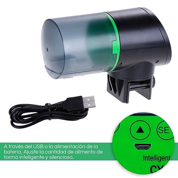 Zacro Comedero de Peces Automáticos,Digital Alimentador de Peces con Cargador USB,Pantalla LCD,se Sirve para ≤24mm Acuario,Pecera,Dispensador de Comida ...