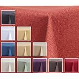 "Mantel - efecto lino - impermeable, 135 x 180 cm cuadrado - color terracota "" Deko-Home24 pulgada"