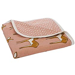 Milkbarn Organic Cotton Stroller Blanket - Rose Deer