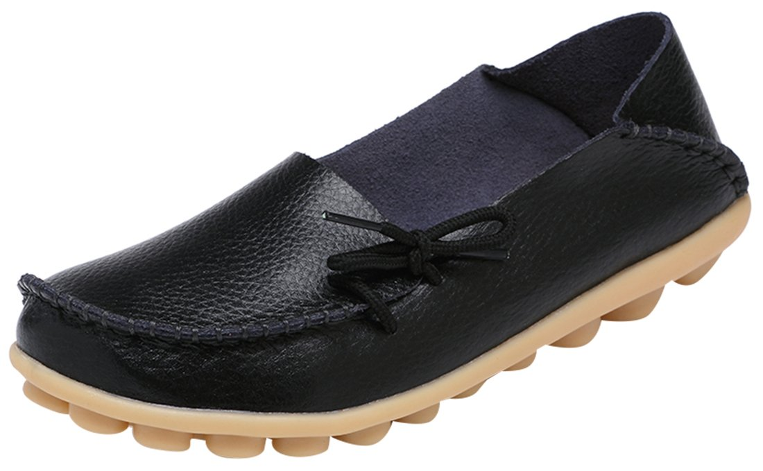 Serene Womens Black Leather Cowhide Casual Lace up Flat Driving Shoes Boat Slip-On Loafers - Size 10.5
