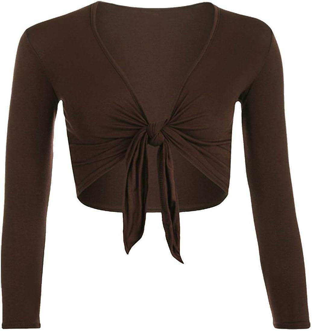 Womens Cropped Tie Up Front Bolero Cardigan Ladies Long Sleeve Plain Top Shrug