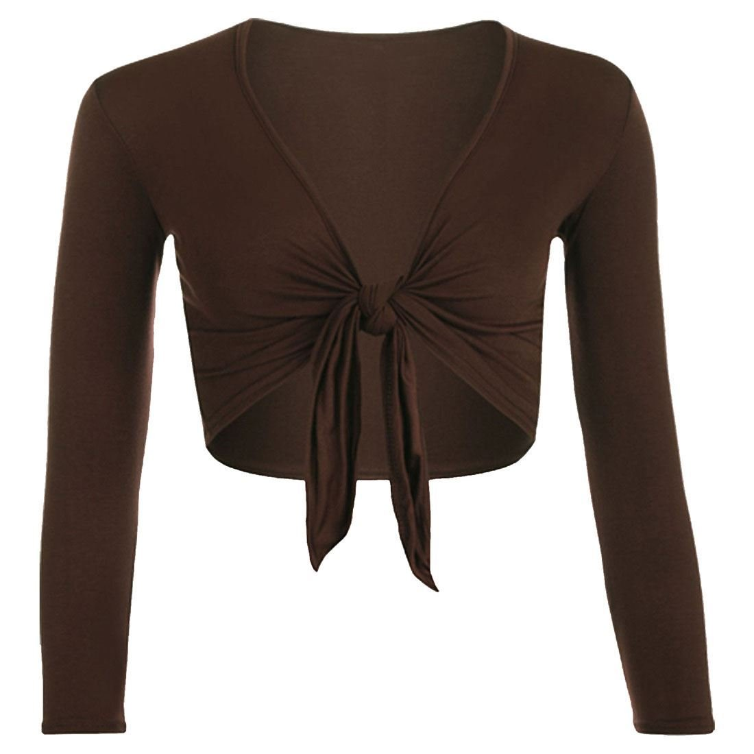 Purple Hanger Women's Long Sleeve Bolero Crop Cardigan Tie Shrug Dark brown 8-10