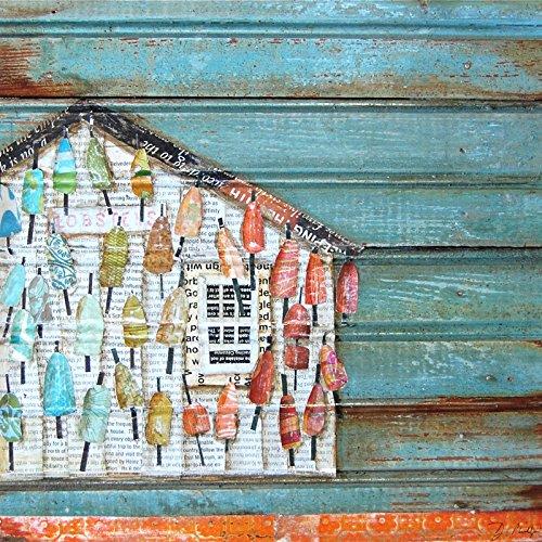 Lively Lives - Danny Phillips art print, UNFRAMED, Lobster Buoys Shack House hut coastal beach nautical mixed media art wall & home decor poster, ALL SIZES