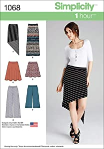 Simplicity 1068 Learn to Sew Women's Knit Skirts and Pants Sewing Pattern, Sizes 14-22
