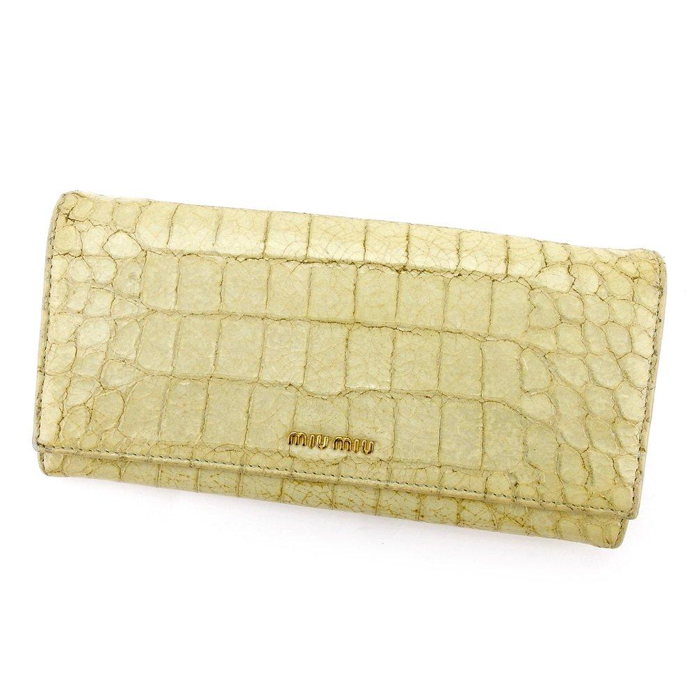 (ミュウミュウ) Miu Miu 長財布 財布 ファスナー付き ベージュ グリーン ゴールド クロコダイル調 レディース 中古 T5508   B078PDMZDB
