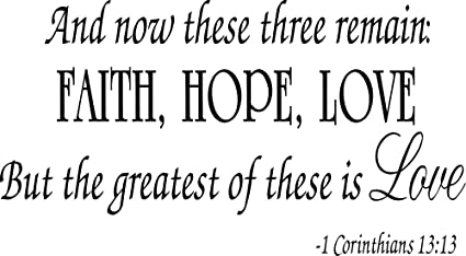 Faith Hope Love Corinthians Wall Quote Decal Scripture Bible Verse Quotes  Vinyl