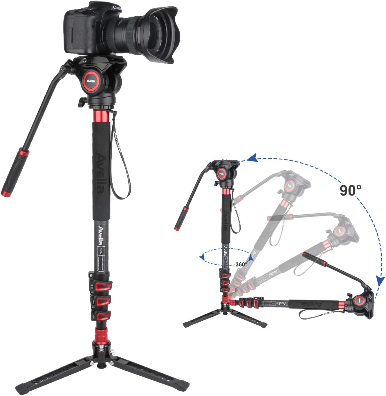 with Fluid Head and Removable feet 71 Inch Max Load 13.2 LB for DSLR and Video Camera Avella CD324 Carbon Fiber Video Monopod Kit