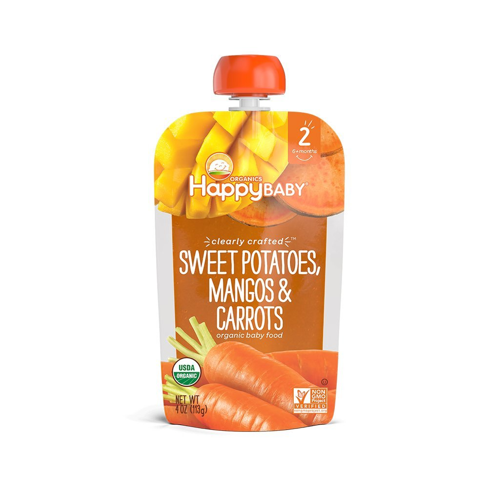 Happy Baby Organic Clearly Crafted Stage 2 Baby Food Sweet Potatoes, Mangos & Carrots, 4 Ounce Pouch (Pack of 16)
