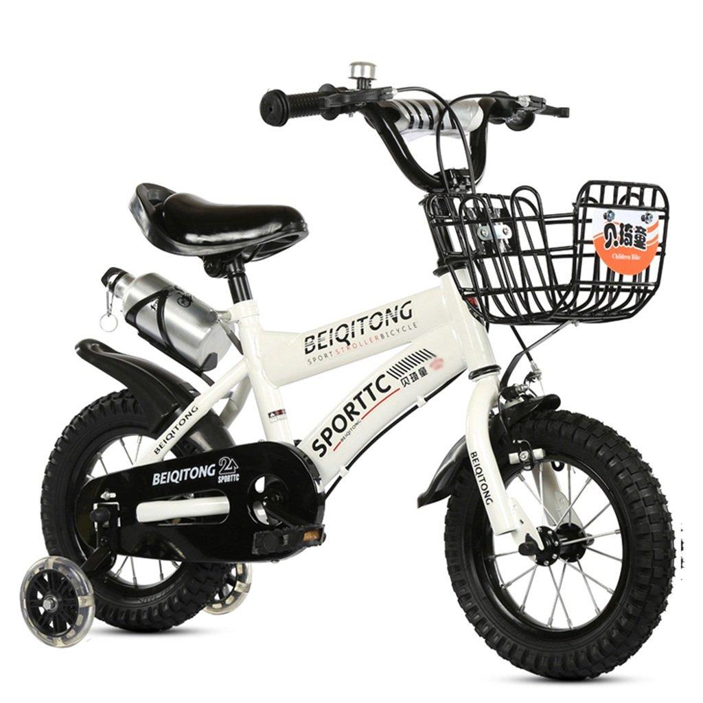 子供の自転車、少年の自転車の少女の自転車初心者の自転車スチール自転車とケトルクリエイティブセーフティ自転車の長さ88-121CM (色 : 白, サイズ さいず : 121CM) B07D6PH67Y 121CM|白 白 121CM