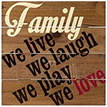 Malden Rustic Wall Sign Family We Live We Laugh We Play We Love Silkscreened Wood Pallet, 12-Inch X 12-Inch, Barnwood