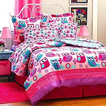 Amazon.com: Nature HOOT OWLS & Flowers Girls Pink Teal Twin Size ...