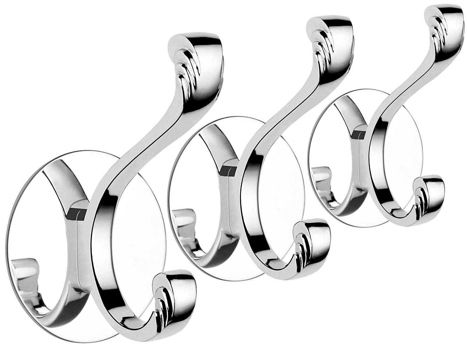Tensun Robe Hook, Wall Hooks for Hanging Towel Coat Clothes with Glue + 3M Self-Adhesive, 304 Stainless Steel Single Prong Hook for Bathroom Shower Kitchen Closet Garage, Polished Finish