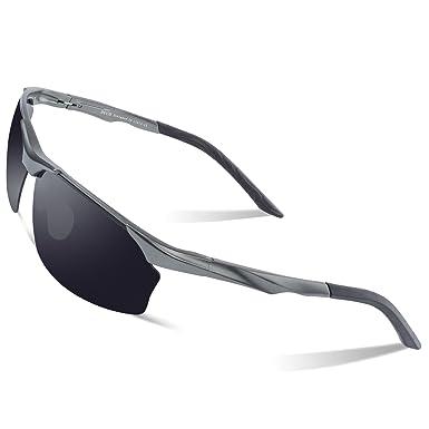 RONSOU Herren Sport Al-Mg Polarisiert Sonnenbrille Unzerbrechlich zum Fahren Radfahren Angeln Golf silber rahmen/blau linse XWkV0Jmyt