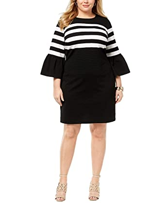 Michael Michael Kors Plus Size Striped Flare-Sleeve Dress ...