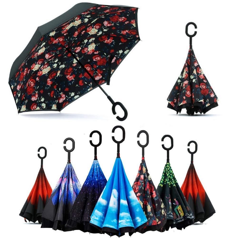 Paraguas Invertido, Doble Capa a Prueba Impermeable Tipo C Sombrilla Portátil Utilizado para Vacaciones al Aire Libre (Bellamy Roja)