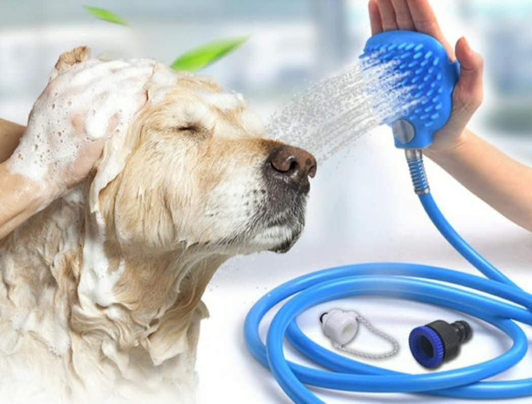 SUNPIN pet Multifunctional Brush with Built-in pet Shower Sprayer and Scrubber, Compatible with Shower tub and Outdoor Garden Hose, for Cleaning and Massage of Dogs, Cats and Horses
