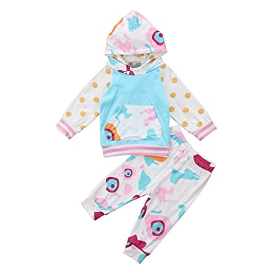 2Pcs Newborn Boys Girls Animal Split Floral Hoodie With Pockets Tops Pants Outfit Set