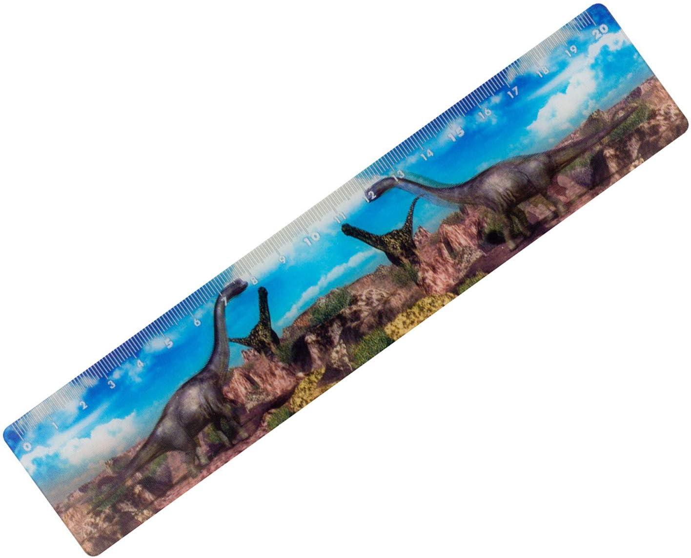 sortiert in 5 verschiedenen Designs 20 cm lang biegsam und bruchsicher Lineal mit 3D animiertem Dino-Motiv Stylex 44156