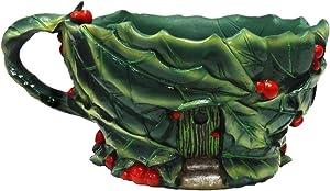 Miniature Micro Mini Fairy Garden Christmas Holiday theme Holly Leaf Teacup Planter