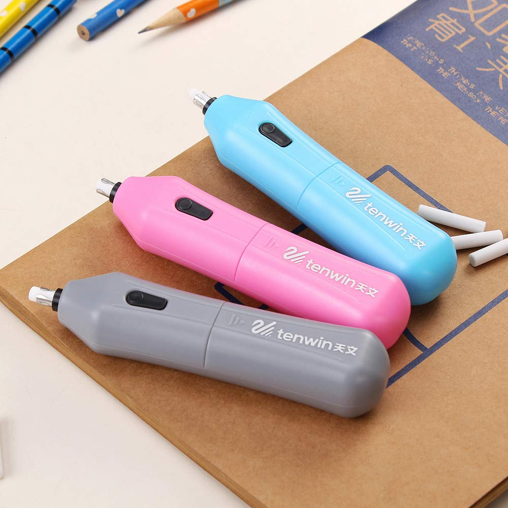 Electric Pencil Eraser with 10 Eraser Refills Battery Operated Auto Pencil Eraser for Drawing Painting Sketching Drafting Architectural Plans Arts and Crafts (Sky Blue) by Buolo (Image #9)