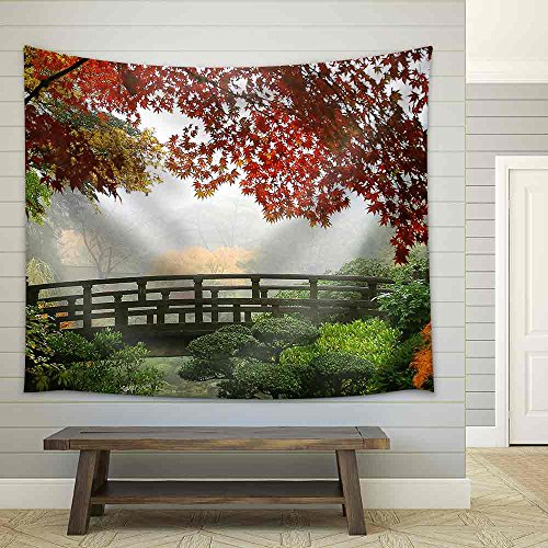 Misty Fall Morning in Portland'S Japanese Gardens Fabric Wall