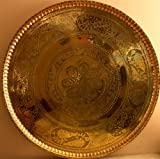 Handmade Brass Copper Ornate Dish Platter