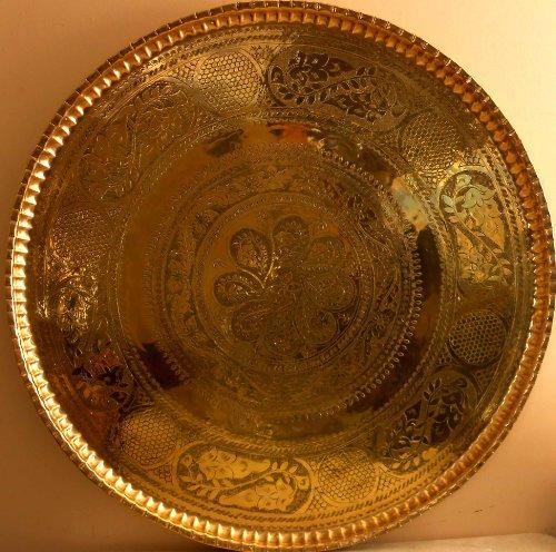 Handmade Brass Copper Ornate Dish Platter by Nabil's Gift Shop