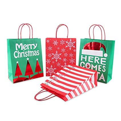 Rolin Roly 12pc Bolsas de Papel Kraft con Asas Christmas ...