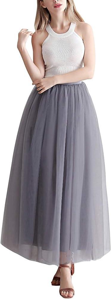 Facent Mujer Adultos Largo Tutu Falda Tul Enaguas para Disfraz ...