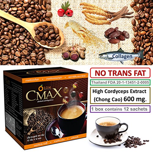 - CMAX Best instant Healthy Coffee herbal dietary supplement Cordyceps (High 600mg.) , Ginseng , Date Powder , Hawthorn Berry powder, sugar free , Trans-Fat-Free Product