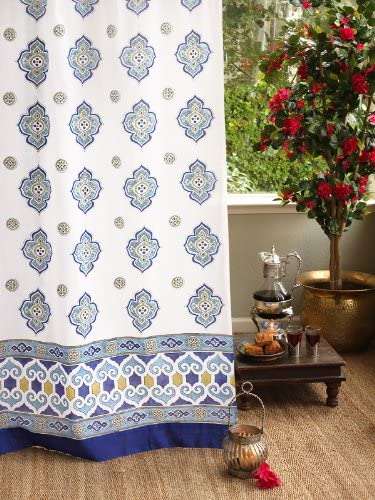 Saffron Marigold Casablanca White, Green, and Blue Moroccan Inspired Hand Printed Elegant Romantic Sheer Cotton Voile Curtain Panel Tab Top or Rod Pocket 46 x 96