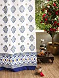 Saffron Marigold – Casablanca – White, Green, and Blue Moroccan Inspired Hand Printed – Elegant Romantic Sheer Cotton Voile Curtain Panel – Tab Top or Rod Pocket – (46 x 63) Review