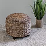 International Caravan SG-3352-RD-IC Furniture Piece Arizona Abaca Round Cushioned Top Stool