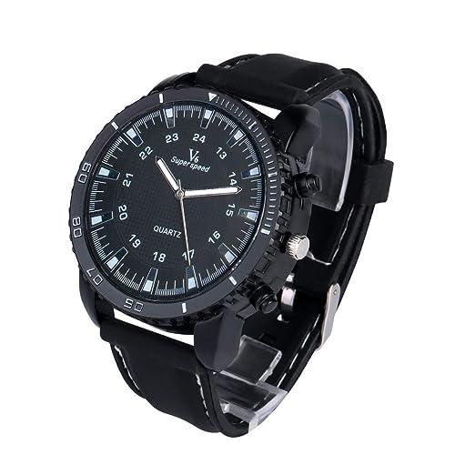 Yivise Hombres Mujeres Reloj Deportivo de Lujo Reloj de Cuero Militar al Aire Libre Ronda Dial Cuarzo Indicador Unisex Reloj de Pulsera(A): Amazon.es: ...