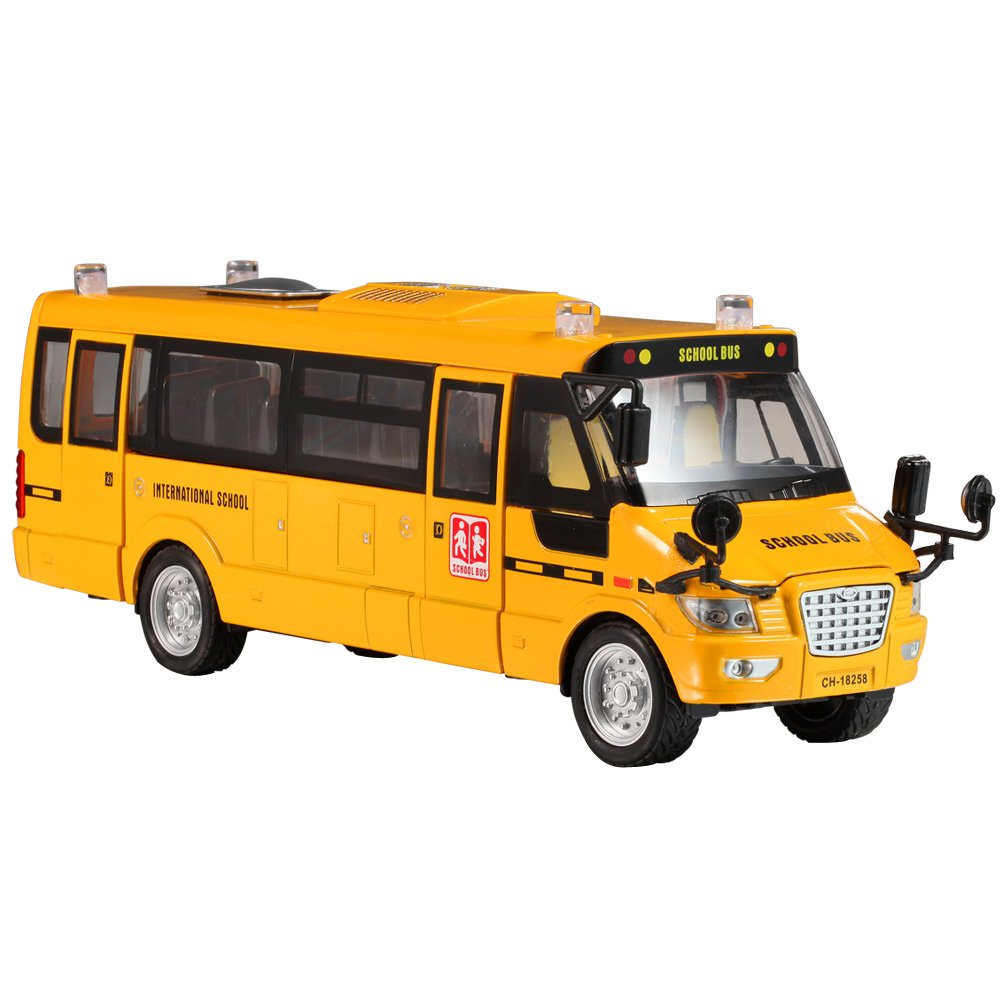 KAWO School Bus Metal Toy Pull-Back Action Bright Yellow US School Bus with Light & Music Metal Large Toy Vehicles with Lights,Music and 5 Open-able Doors
