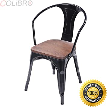 COLIBROX  Set Of 4 Tolix Style Armchair Stackable Bistro Metal Wood Stool  Furniture Black