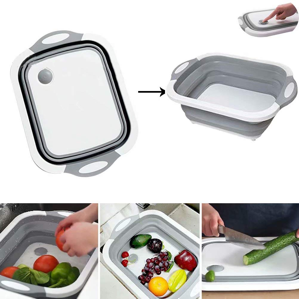 3in1 Multifunction Collapsible Cutting Board Drain Basket Vegetable Basin Portable Tub