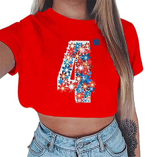 50d31b395 Amazon.com: Women Plus Size Short Crop Tops, 4th of July American Flag  Number 4 Print Star Large Size T-Shirt Sports Tank Top: Clothing