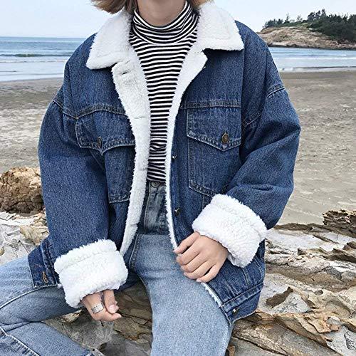 Jeans Manica Fashion Donna Hot Invernali Lunga Autunno Jacket Giacche Spesso Denim Sciolto Outerwear Libero Cappotto Elegante Velluto Chic Tasche Tempo Ragazza Con Dunkelblau Button Termico 5IwZfq
