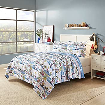 Image of 2 Piece Blue Beach Theme Twin Quilt Set, White Tropical Sailing Sail Boat Pattern Bedding Coastal Nautical Beachy Lake House Cottage, Shabby Chic Sea Reversible Stripe Solid Color, Cotton Home and Kitchen