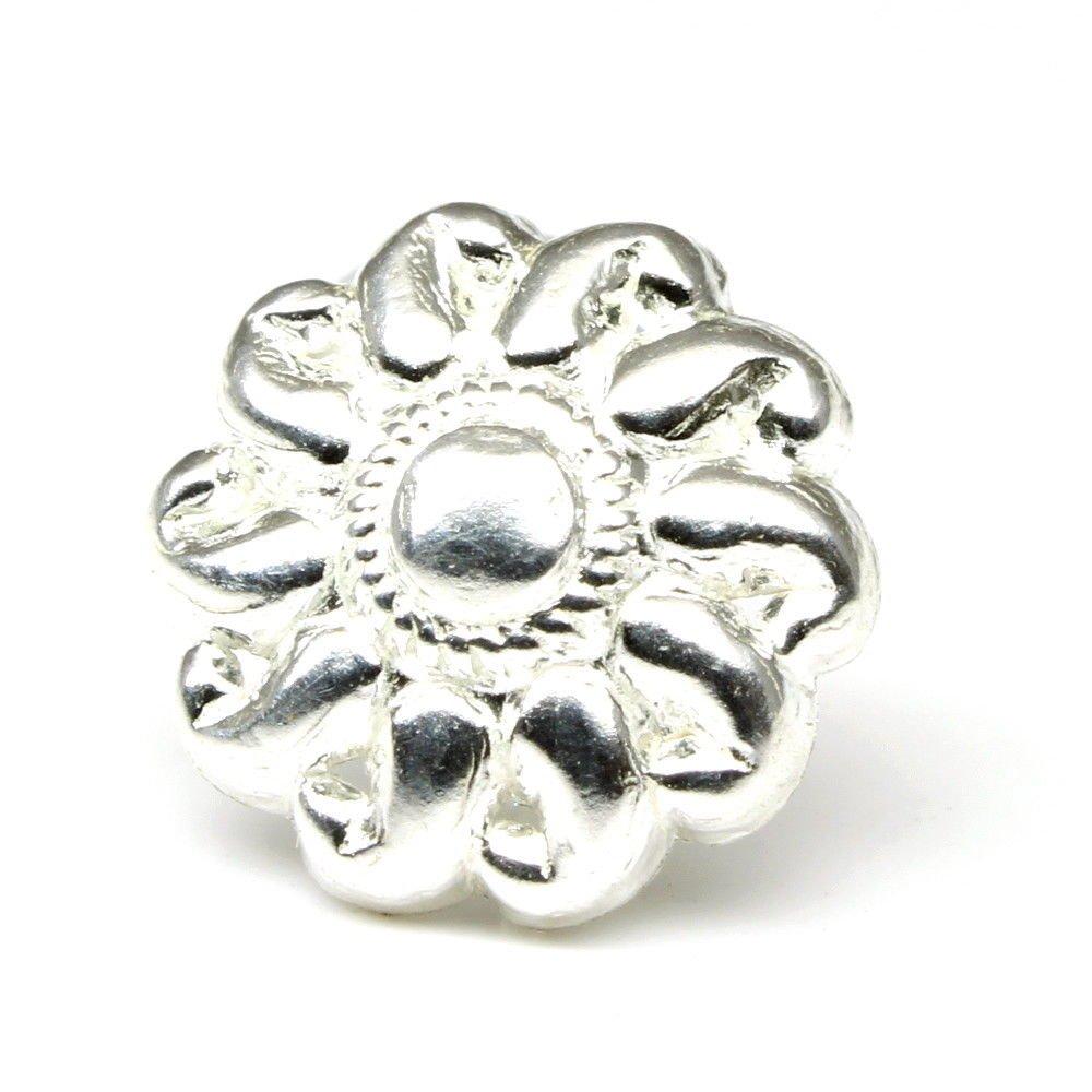 Silver Nose Stud, corkscrew piercing nose ring L Bend 22gg