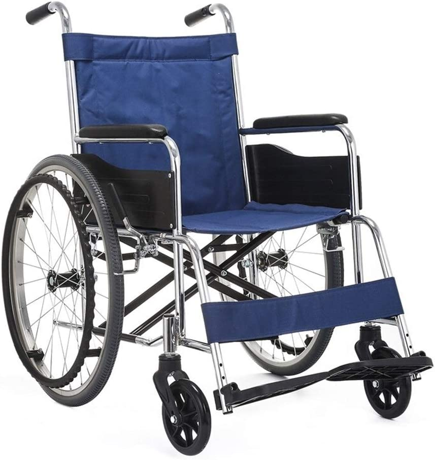 YIN YIN Viaje Silla de Ruedas Neumáticos sólidos Compactos y Ligeros Sillas de Ruedas Plegables médicas for el hogar Carros for Ancianos Duradero (Color : A)
