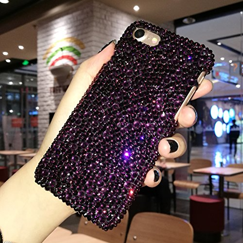 iPhone X bling bling case Dark Purple Glitter Crystal Stones iPhone 8 Case iPhone 8 Plus case (Crystal Iphone Covers)