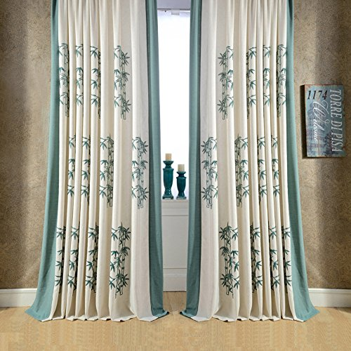 KoTing Home Fashion Cream Cotton Linen Blue-Green Bamboo Embroidery Curtain Grommet Top,1 Panel,100 by 84-Inches