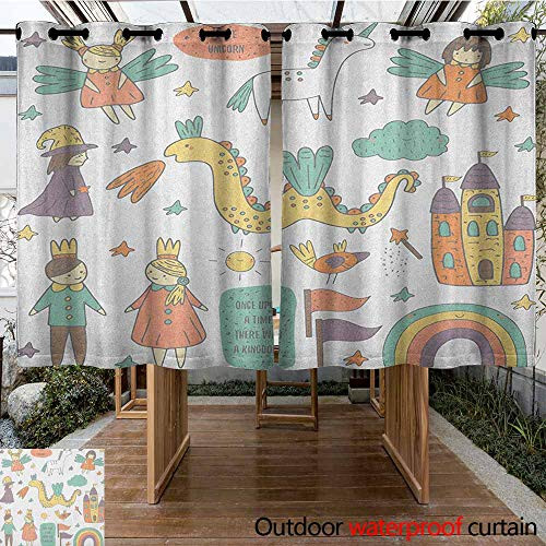 Outdoor Curtains,Fantasy,Doodle Style Dragon Fairies Royalty and Wizard Middle Ages Heroic Legend Elements,Waterproof Patio Door Panel,K183C183 Multicolor ()