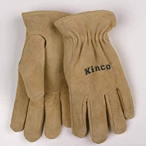 Kinco 035117005457 Women's Suede Cowhide Drivers Unlined Work Garden Gloves, Large, Beige, Single Pair