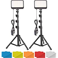 UBeesize LED Video Light Kit, 2Pcs Dimmable Continuous Portable Photography Lighting with Adjustable Tripod Stand & 5…