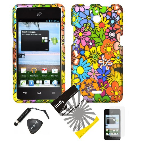 4 items Combo: ITUFFY (TM) LCD Screen Protector Film + Mini Stylus Pen + Case Opener + Pink Green Orange Blue Purple Spring Cartoon Color Daisy Flower Design Rubberized Snap on Hard Shell Cover Faceplate Skin Phone Case for Huawei VALIANT Y301 / Straight Talk Huawei Ascend Plus H881C]()